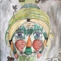 Portrét podle Arcimbolda, Anna Matějová, 12 let